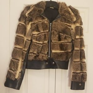 Retro Fashion Real Racoon, Shearling, Leather Coat